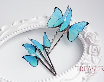 Blue butterfly hair pin, blue butterfly hair jewelry, handmade butterfly, exotic butterfly, bridal jewelry, wedding jewelry, gift for her