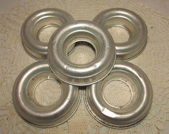FIVE Vintage Aluminum Jello Cake Candle Soap Molds, Round Ring shape, kitchenware utensils, 60s