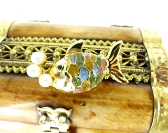 Frosted pastel enamel & gold fish brooch, little pearl bubbles.Gold, pink and blue enamel fish scales. Latch pin back. Free gift packaging