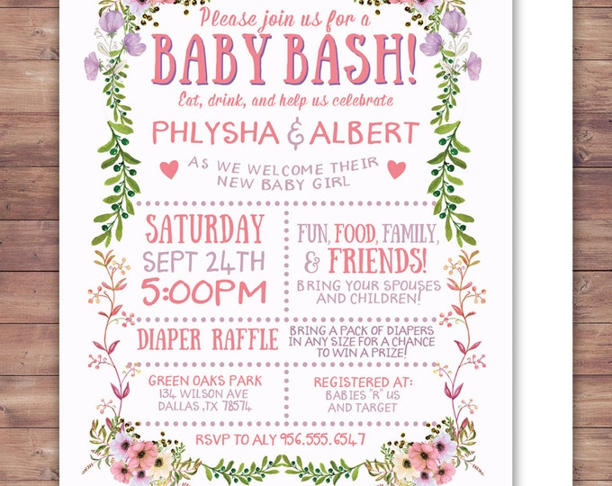Floral, rustic, BOHO, BabyQ chalkboard couples co-ed Baby Shower BBQ invitation -baby is brewing, baby girl shower, Digital files only