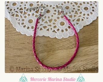 Pink braided leather strap with silver clasp + chain