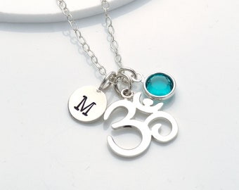 Personalised Om Necklace Sterling Silver Charm Necklaces For Women, Silver Ohm Buddhism Necklace, Meditation Jewellery