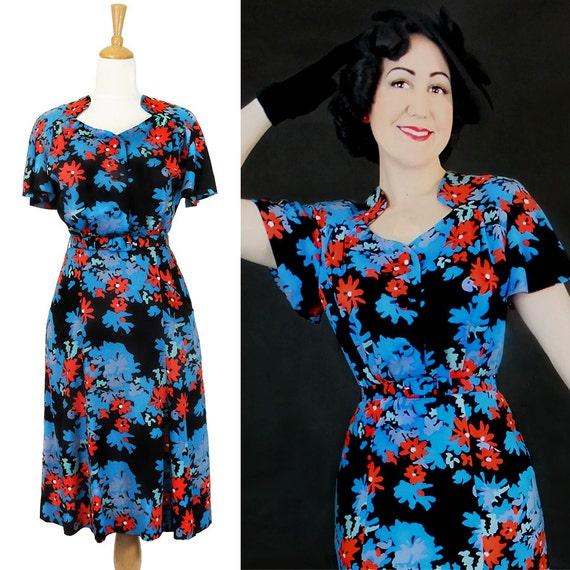 Vintage Wedding Dresses 1930 S 1940 S: Items Similar To Vintage 1930's 1940's Rayon Dress / Darla