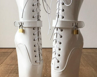 18cm LOCKY Beginner Lockable Ballet Wedge Boots Hoof Heelless Fetish Pinup White