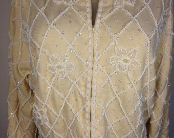 FREE  SHIPPING  1950 Bead   Cashmere  Sweater