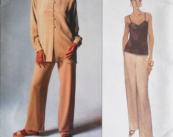 Vogue 1344.  VTG Anne Klein II pattern.  Anne Klein II jacket, camisole, pants.  1994 Anne Klein pants suit pattern. Tunic jacket.  Sz 6-10.