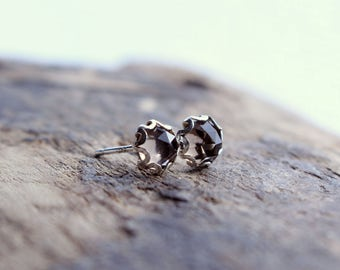Smokey Quartz Stud Earrings - Sterling Silver Earrings - Small Posts - Gift for Her - Jewelry