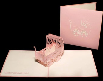 Baby girl 3-d pop up card