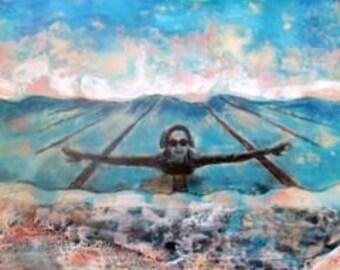 Encaustic painting. Beeswax art mixed media painting - water Lover Diving Deep  mixed media art