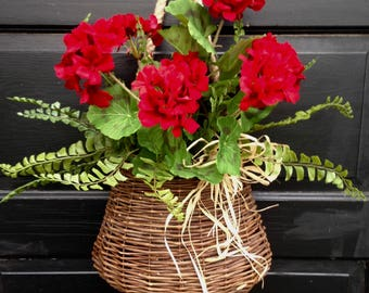Red Geranium Door Basket