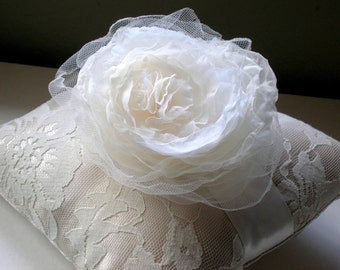 Chic Silk and Tulle Angel Blossom Ring Bearer Pillow.. Bridal Pillow. Wedding Ring Pillow. Ivory French Lace andTaupe Satin. Elegant wedding