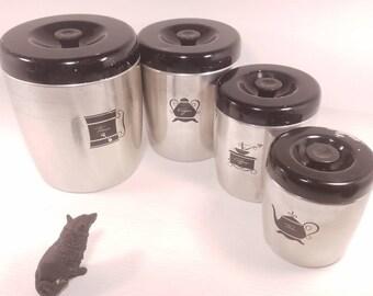 Set of 4 Vintage West Bend Aluminum Storage Containers- Flour, Sugar, Coffee, Tea, Aluminum with Black Lids