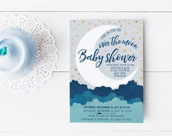 Over the Moon Baby Shower Invitations, Navy Blue and Gold Boy Shower Invites, Printed or Printable Invitations