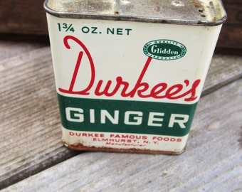 Vintage Durkee's Ginger Tin by Durkee Famous Foods, Elmhurst, NY, Glidden Quality Products