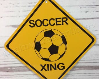 """Soccer Xing Mini Metal Yellow Caution Crossing Sports Sign 6""""x6"""" or 12""""x12"""" NEW (2 sizes available)"""