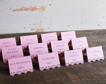 pink printed place cards for wedding, shower, party set of 100 - whimsy