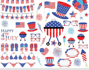 4th of July Clipart, Patriotic Clip Art, USA Clipart, Stars and Stripes Clip Art, Independence Day Clipart, Instant Digital Vector Download