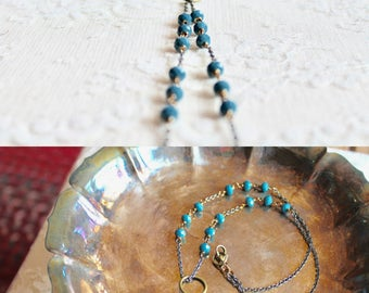 Champagne golden and cornflower blue glass bead necklace with loop, Sunny Side Up
