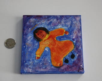 Primitive Art Angel in Orange and Red