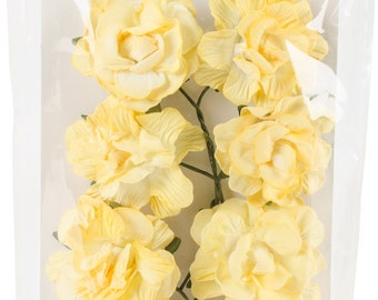 Scrapberry - Curly Yellow Paper Flowers-8Pkg