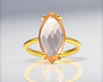 Champagne Citrine Ring, Gemstone Ring, Stacking Ring, Gold Ring, Marquise Ring, Prong Set Ring, November Birthstone ring, Statement ring