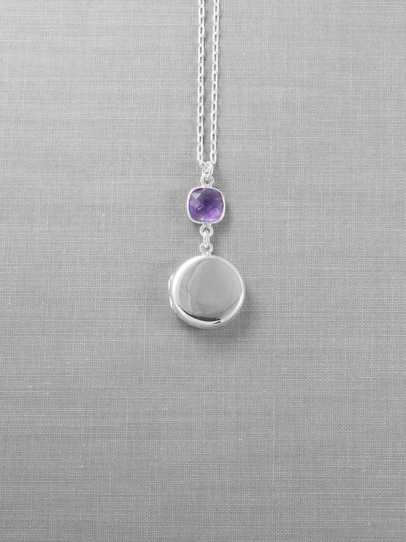 February Birthstone Sterling Silver Locket Necklace, Modern Plain Round Photo Pendant with Amethyst - Color of the Year Ultra Violet