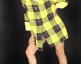 1950's Vintage Tunic, Yellow and Black Plaid, Tunic Shirt, Tommie Robe, Styled by Harry Berger, Large Plaid Shirt, Size 34