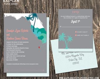 Florida Wedding Invitation Set - Florida State Destination Wedding