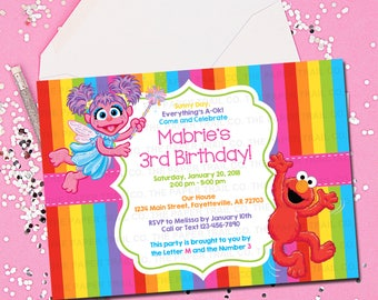SESAME STREET INVITATION, Elmo, Birthday Invitation, Sesame Street, Birthday Invite, Elmo Birthday, Invitation, Printable 5x7
