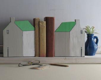 home decor - set of 2 - House Sculpture - Mint- simple decor