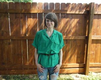 SALE! Vintage 1980's vibrant emerald green blouse by Lindsey Blake
