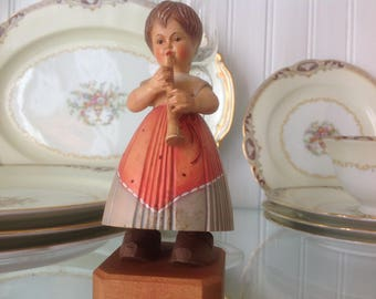 Vintage Anri Toriart Figurine Girl Playing Clarinet or Flute