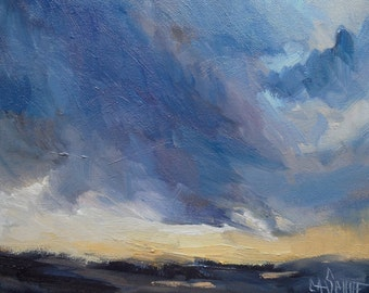 Impressionist Stormy Landscape Painting, Daily Painting, Landscape with clouds, 8x10 Original Oil Painting