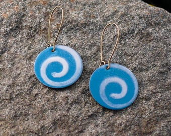 Torch fired enamel swirl earrings