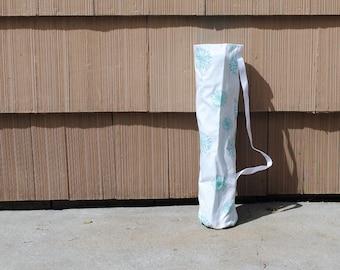 Yoga Mat Tote Bag Gym Mat Tote Blue Dandelion White  Cotton Twill