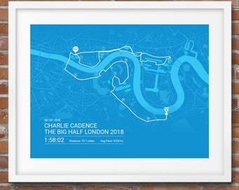 The Big Half London Personalised Poster / Memento / Gift / Art Print / Route / Map