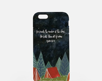 JW iPhone Case - He Counts the Number of the Stars; He Calls Them All By Name Psalm 147:4, Scripture Phone Case, JW Baptism Gift