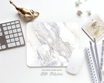 Marble Mousepad Faux White Marble Print Mouse Mat Mouse Pad Office Mousemat Heart Marble Mousemat White Marble Print Mousepad Round 104.