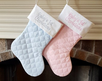 Christmas Stocking. Baby's First 1st Christmas Stocking. Light blue or light pink quilted base with white top Christmas Stocking