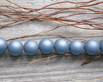 4 mother of Pearl shell 10mm matte grey blue beads