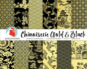 Chinoiserie Digital Paper, Gold & Black Chinese patterns, french chinoiserie, trellis, blue willow, faux gold foil photography backdrop 8094