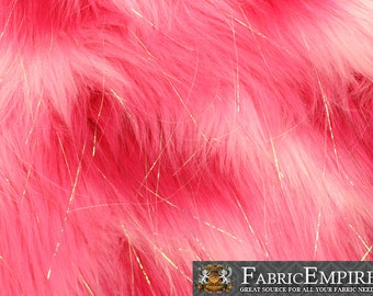 """Faux Fur Fabric Long Pile Rainbow SPARKLING Tinsel Hot Pink White Pink/ 60"""" Wide / Sold by the yard"""