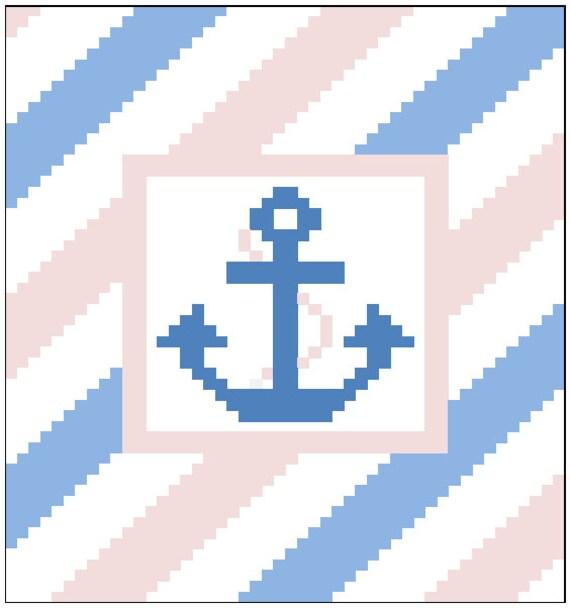 Striped Anchor Blanket C2C Blanket Pattern PDF instant
