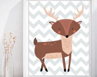 Deer Nursery Print Wall Art, Deer Printable, Woodland Printables Nursery Wall Art, Kid's Room Wall Art, Woodland Nursery Kids Room Wall Art