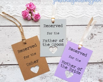 8 Rustic Wedding Reserved Sign Tags Personalised. 21 Colour Options, Heart Cut Out Detail. Handmade  Lace, Twine or Ribbon. Wedding Sign.