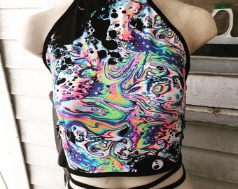 Halter Top Requiem Acid Trippy  Neon Crop Rave Dance Festival Wear Bathing Suit Top