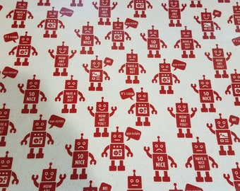 Robots - Kokka laminated cotton fabric red on natural