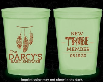 New Tribe Member, Glow in the Dark Baby Shower Cups, Tribal Baby Shower, Glow Baby Shower Party (90183)