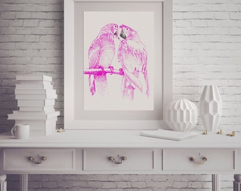 Bird Printable, Poster Printable, Bird Print, Instant Download, Printable Art, Pink Wall Art, Housewarming Gift, Wedding Gifts For Couple