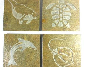Marine Life Coasters Set - Quality Slate Stone Coasters, Sting Ray Dolphin Manatee Sea Turtle, Florida State Nautical Beach Coasters Decor
